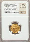 Ancients:Byzantine, Ancients: Constans II Pogonatus (AD 641-668), with Constantine IV (AD 654-685). AV solidus (19mm, 4.45 gm, 6h). NGC MS 5/5 - 4/5. ...