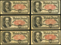 Fractional Currency:Fifth Issue, Fr. 1381 50¢ Fifth Issue. Six Examples. Fine-Very Fine or Better..... (Total: 6 notes)