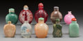 Asian:Chinese, A Group of Ten Chinese Snuff Bottles. 2-7/8 inches (tallest). ...(Total: 10 Items)