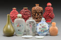 Asian:Chinese, A Group of Eight Chinese Snuff Bottles and Two Associated SnuffDishes and Diminutive Vase. 3-1/4 inches (tallest, ...