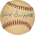 Baseball Collectibles:Balls, Circa 1950 Clark Griffith Single Signed Baseball, PSA/DNA NM 7.....
