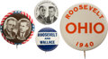 Political:Pinback Buttons (1896-present), Roosevelt & Wallace: Jugates and Names Pins....