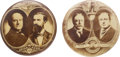 Political:Pinback Buttons (1896-present), Taft & Sherman and Bryan & Kern: Real Photo Dated Jugates.... (Total: 2 Items)