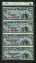 Canadian Currency, Hamilton, ON- Bank of Hamilton $50 2.1.1904 Ch. # 345-18-08SSpecimen Uncut Sheet of Four. PMG Gem Uncirculated 65 EPQ....