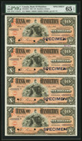 Canadian Currency, Hamilton, ON- Bank of Hamilton $10 2.1.1904 Ch. # 345-18-06SSpecimen Uncut Sheet of Four. PMG Gem Uncirculated 65 EPQ....