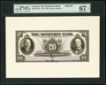 Canadian Currency, Toronto, ON- Dominion Bank $20 1.2.1931 Ch. #220-24-10FP and#220-24-10BP Front and Back Proofs.. ... (Total: 2 not...