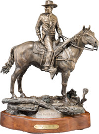 "Texas Ranger Clint Peoples: Limited Edition Bronze Statue by Cary Clawson Titled ""One Man's Dream"""