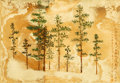 Asian:Chinese, Lin Wenjie (Dominic Man-Kit Lam) (Chinese, b. 1947). Pine Trees with Calligraphy. Chromoskedasic nano art on photography...