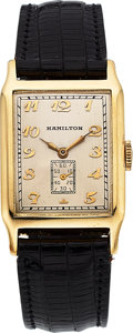 "Timepieces:Wristwatch, Hamilton Very Rare ""Ericsson"" 14k Gold Explorer Series Watch, circa1930. ..."