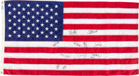 """1992 American Flag Signed by USA Olympic Basketball """"Dream Team"""" from Team Employee"""