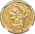 Liberty Half Eagles, 1854-S $5 XF45 NGC....