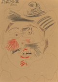 Works on Paper:Drawing, Pablo Picasso (1881-1973). Tête d'homme, 1970. Ink and crayon on cardboard. 12-3/8 x 8-3/4 inches (31.4 x 22.2 cm). Sign...