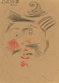Pablo Picasso (1881-1973) Tête d'homme, 1970 Ink and crayon on cardboard 12-3/8 x 8-3/4 inches (3