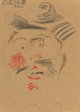 Pablo Picasso (1881-1973) Tête d'homme, 1970 Ink and crayon on cardboard 12-3/8 x 8-3/4 inches (31.4 x 22.2 cm) Si...