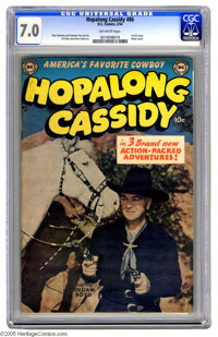 Hopalong Cassidy #86 (DC, 1954) CGC FN/VF 7.0 Off-white pages. First DC issue; photo cover. Gene Colan and Gil Kane art...