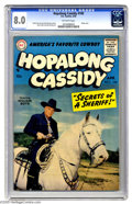 Golden Age (1938-1955):Western, Hopalong Cassidy #100 (DC, 1955) CGC VF 8.0 Off-white pages. Photo cover; Gene Colan art. This is the only copy certified by...