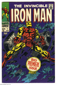 Iron Man #1 (Marvel, 1968) Condition: FN/VF. Origin retold, story continued from Iron Man & Submariner #1. Gene Cola...