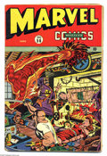 Golden Age (1938-1955):Superhero, Marvel Mystery Comics #56 (Timely, 1944) Condition: VG- 3.5. Torch interrupts a Nazi roast, as the gaggle of baddies prepare...
