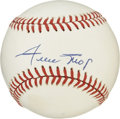 "Autographs:Baseballs, Willie Mays Single Signed Baseball. Nicknamed ""The Say Hey Kid',Willie Mays was elected to the Hall of Fame in 1979 and to..."
