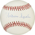 Autographs:Baseballs, Warren Spahn Single Signed Baseball. Both astonishingly consistentand durable, Spahn won 20 games in 13 different seasons....