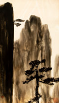 Asian:Chinese, Lin Wenjie (Dominic Man-Kit Lam) (Chinese, b. 1947). Tree withMountain. Chromoskedasic on photography paper. 24 x 13-1/...