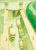 Asian:Chinese, Ke Rang Zheng (Chinese, 20th Century). Yangtze River Locks,1981. Color and gouache on paper. 19-1/2 inches high x 14-1/...