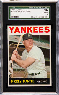 1964 Topps Mickey Mantle #50 SGC 96 Mint 9 - Pop Seven, None Higher!