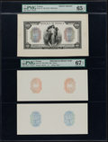 World Currency, France Banque de France 100 Francs ND (ca. 1917) Pick 75 Face and Counter Proofs.. ... (Total: 3 notes)