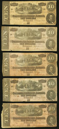 Confederate Notes, T68 $10 1864. Five Examples.. ... (Total: 5 notes)