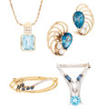 Estate Jewelry:Lots, Diamond, Sapphire, Topaz, Gold Jewelry. ... (Total: 4 Items)