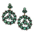 Estate Jewelry:Earrings, Diamond, Emerald, Gold, Sterling Silver Earrings. ...