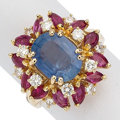Estate Jewelry:Rings, Diamond, Ruby, Ceylon Sapphire, Gold Ring. ...