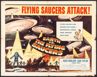 "Earth vs. the Flying Saucers (Columbia, 1956). Half Sheet (22"" X 28"") Style B. Science Fiction"