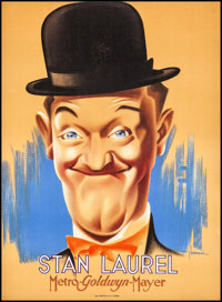 "Stan Laurel (MGM, 1938). French Affiche (22.25"" X 30.25"") Bernari Artwork. Comedy"