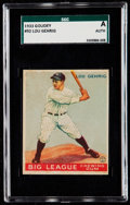 Baseball Cards:Singles (1930-1939), 1933 Goudey Lou Gehrig #92 SGC Authentic. ...