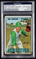 Autographs:Sports Cards, Signed 1967 Topps Catfish Hunter #369 PSA/DNA Authentic. . ...