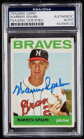 Autographs:Sports Cards, Signed 1964 Topps Warren Spahn #400 PSA/DNA Authentic. . ...
