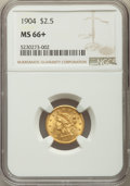 Liberty Quarter Eagles: , 1904 $2 1/2 MS66+ NGC. NGC Census: (199/113 and 12/8+). PCGS Population: (225/71 and 7/4+). MS66. Mintage 160,700. ...