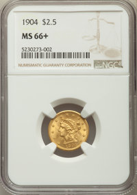 1904 $2 1/2 MS66+ NGC. NGC Census: (199/113 and 12/8+). PCGS Population: (225/71 and 7/4+). MS66. Mintage 160,700. ...(P...