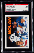 Baseball Cards:Singles (1970-Now), 1991 Upper Deck Baseball Heroes Nolan Ryan Autograph Card SGCAuthentic....