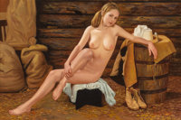 Joseph Jones (American, 20th Century) Girl in the Barn Oil on canvas 24 x 36 in. Signed lower