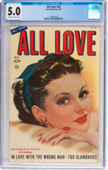 Golden Age (1938-1955):Romance, All Love #32 (Ace, 1950) CGC VG/FN 5.0 Off-white to white pages....