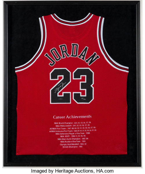 the latest c1373 d8736 Michael Jordan Signed Chicago Bulls Stat Jersey ...