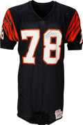 Football Collectibles:Uniforms, 1980's Anthony Munoz Game Worn, Signed Cincinnati Bengals Jersey - Hammered with Team Repairs! ...