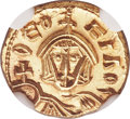 Ancients:Byzantine, Ancients: Theophilus (AD 829-842). AV semissis (12mm, 1.86 gm, 6h). NGC Gem MS ★ 5/5 - 5/5....