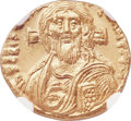Ancients:Byzantine, Ancients: Justinian II, first reign (AD 685-695). AV solidus (18mm, 4.45 gm, 6h).NGC Choice MS 4/5 - 5/5....