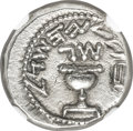 Ancients:Judaea, Ancients: JUDAEA. The Jewish War (AD 66-70). AR half-shekel (18mm, 7.10 gm, 12h). NGC AU 4/5 - 3/5. ...