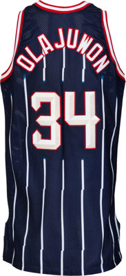 save off 14f7e d58d5 1997 Hakeem Olajuwon Game Worn NBA All Star Game Houston ...