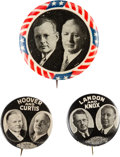 Political:Pinback Buttons (1896-present), Hoover & Curtis and Landon & Knox: Three Jugates....