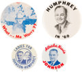 """Political:Pinback Buttons (1896-present), Johnson & Humphrey: Scarce Jugate and Three Other """"Better"""" Buttons...."""